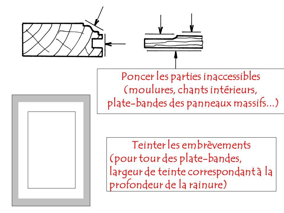 Poncer les parties inaccessibles (moulures, chants intérieurs, plate-bandes des panneaux massifs...) Teinter les embrèvements (pour tour des plate-ban