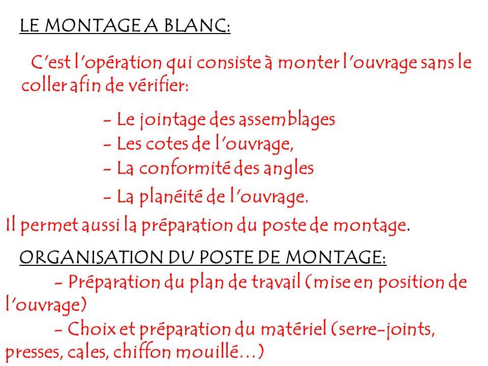 LE MONTAGE A BLANC: C'est l'opération qui consiste à monter l'ouvrage sans le coller afin de vérifier: - Le jointage des assemblages - Les cotes de l'