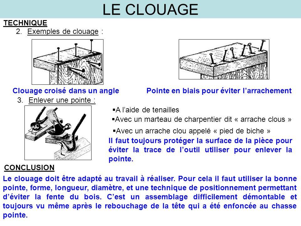 LE CLOUAGE TECHNIQUE 3.Enlever une pointe : 2.Exemples de clouage : Clouage croisé dans un anglePointe en biais pour éviter larrachement A laide de te