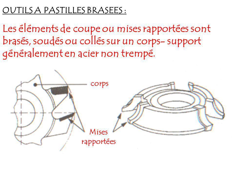 OUTILS A PASTILLES BRASEES : Les éléments de coupe ou mises rapportées sont brasés, soudés ou collés sur un corps- support généralement en acier non t