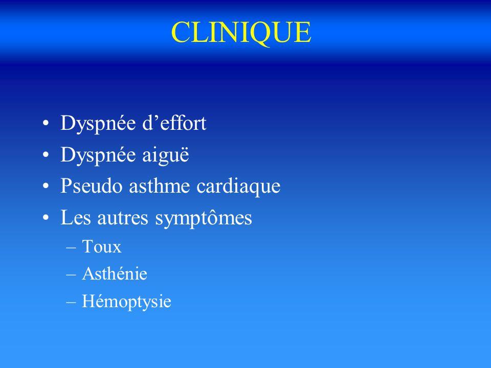 CLINIQUE Dyspnée deffort Dyspnée aiguë Pseudo asthme cardiaque Les autres symptômes –Toux –Asthénie –Hémoptysie