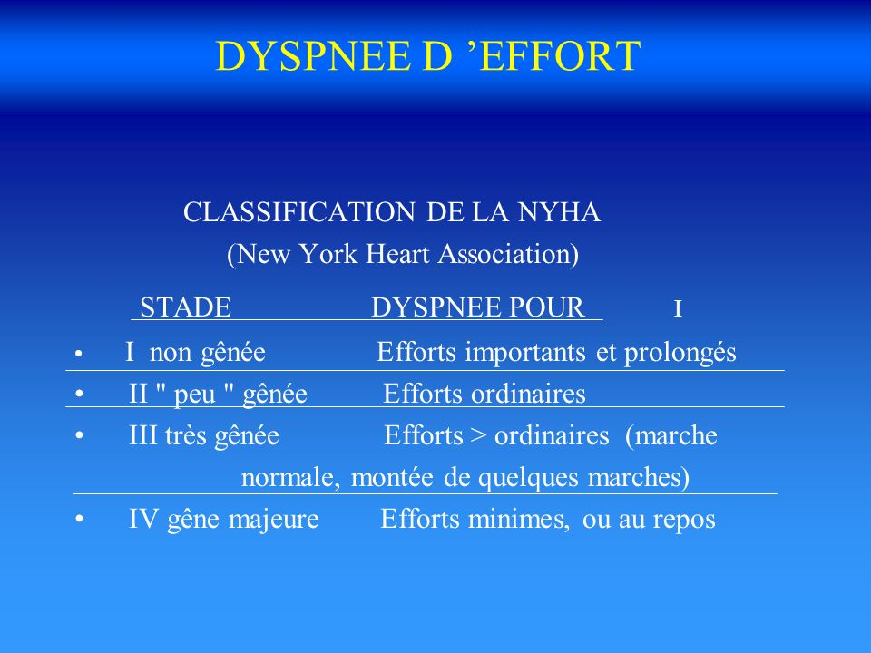 DYSPNEE D EFFORT CLASSIFICATION DE LA NYHA (New York Heart Association) STADE DYSPNEE POUR I I non gênée Efforts importants et prolongés II