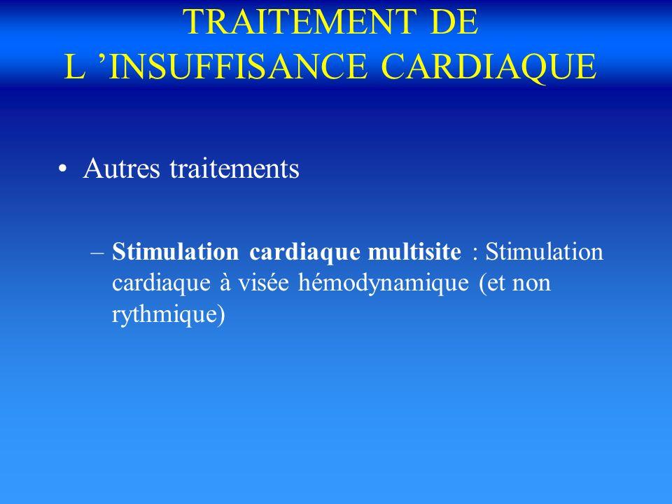 TRAITEMENT DE L INSUFFISANCE CARDIAQUE Autres traitements –Stimulation cardiaque multisite : Stimulation cardiaque à visée hémodynamique (et non rythm