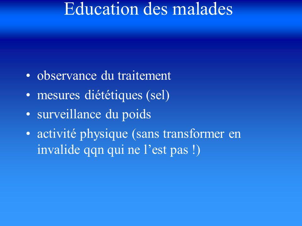 Education des malades observance du traitement mesures diététiques (sel) surveillance du poids activité physique (sans transformer en invalide qqn qui