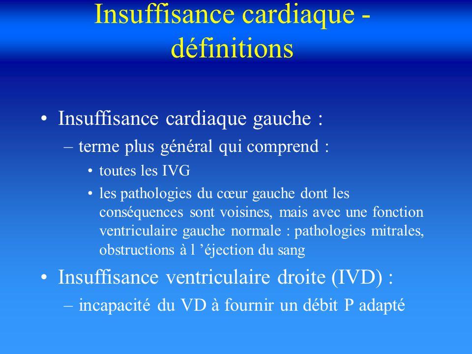 Insuffisance cardiaque - définitions Insuffisance cardiaque gauche : –terme plus général qui comprend : toutes les IVG les pathologies du cœur gauche