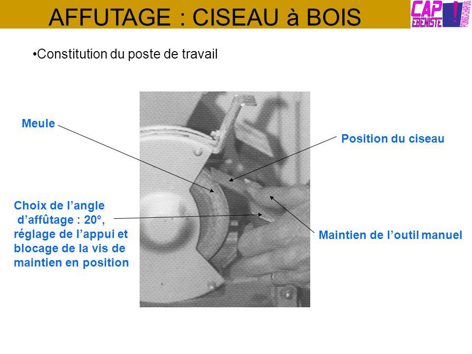 AFFUTAGE : CISEAU à BOIS Constitution du poste de travail Choix de langle daffûtage : 20°, réglage de lappui et blocage de la vis de maintien en posit