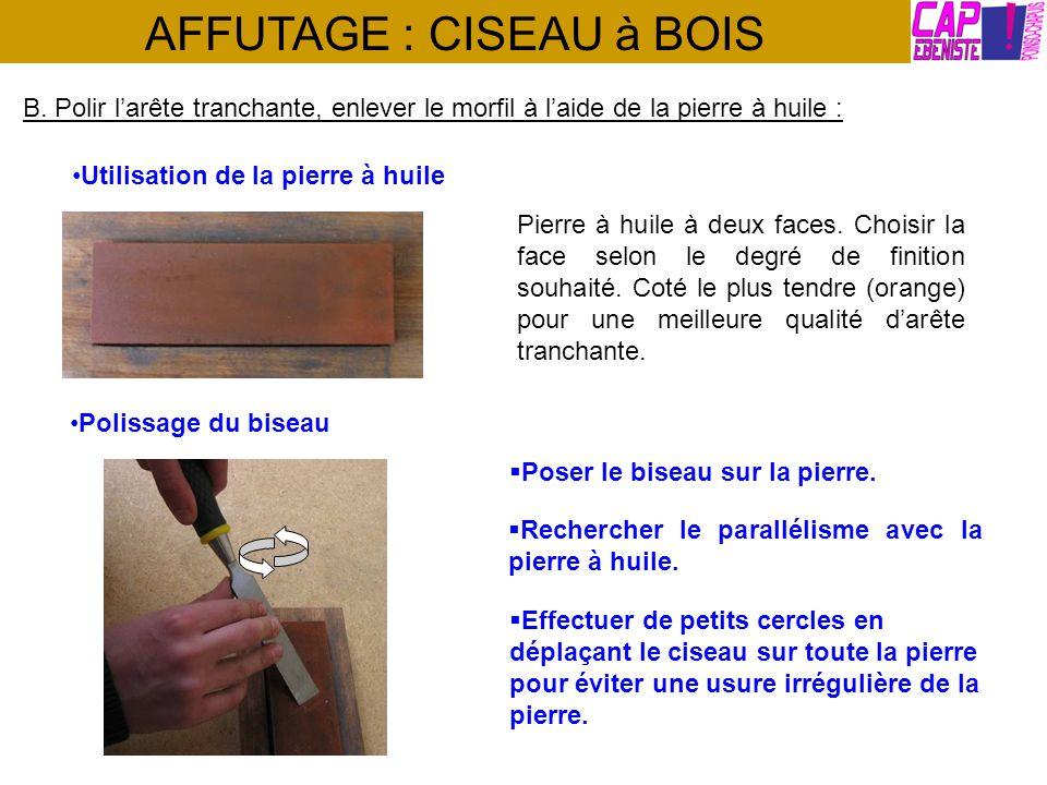 AFFUTAGE : CISEAU à BOIS B. Polir larête tranchante, enlever le morfil à laide de la pierre à huile : Utilisation de la pierre à huile Pierre à huile