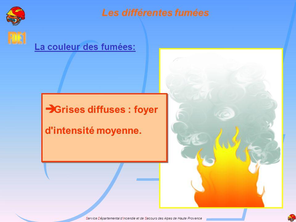 Service Départemental dIncendie et de Secours des Alpes de Haute Provence La couleur des fumées: Grises diffuses : foyer d'intensité moyenne. Les diff