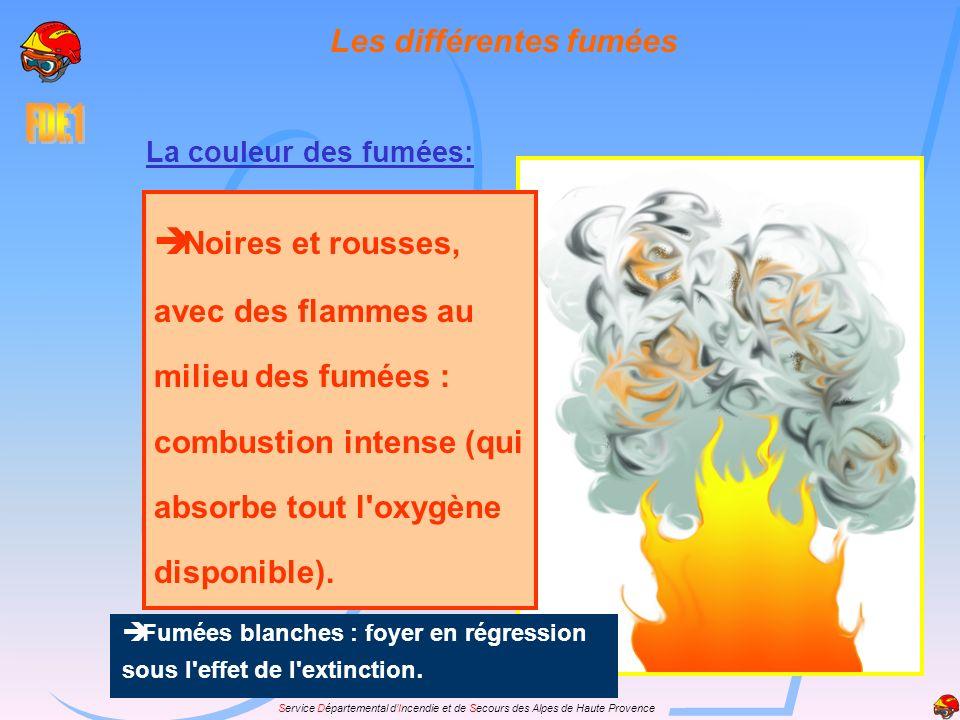 Service Départemental dIncendie et de Secours des Alpes de Haute Provence La couleur des fumées: Noires et rousses, avec des flammes au milieu des fum