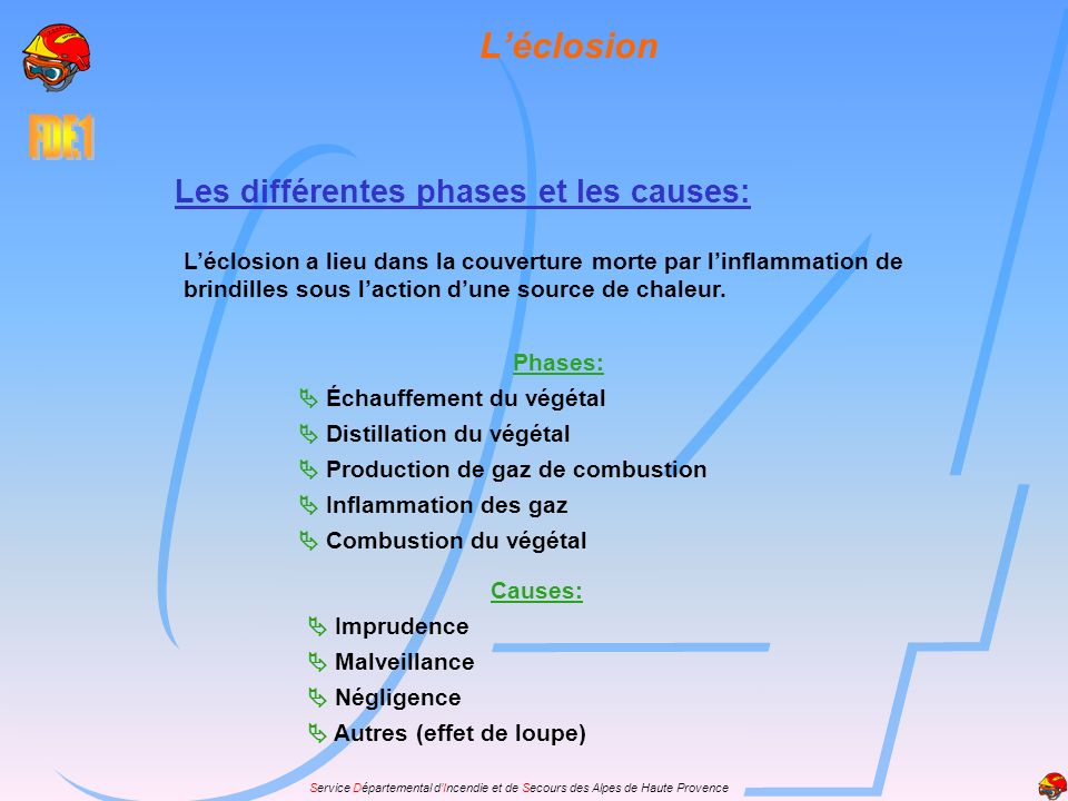 Service Départemental dIncendie et de Secours des Alpes de Haute Provence La couleur des fumées: Grises diffuses : foyer d intensité moyenne.