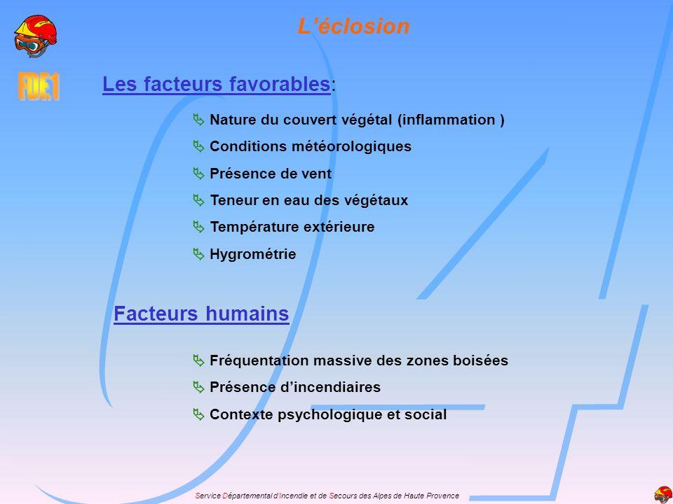 Service Départemental dIncendie et de Secours des Alpes de Haute Provence Les facteurs favorables: Nature du couvert végétal (inflammation ) Condition