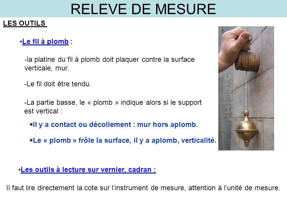 RELEVE DE MESURE LES OUTILS Le fil à plomb : - la platine du fil à plomb doit plaquer contre la surface verticale, mur. - Le fil doit être tendu. - La