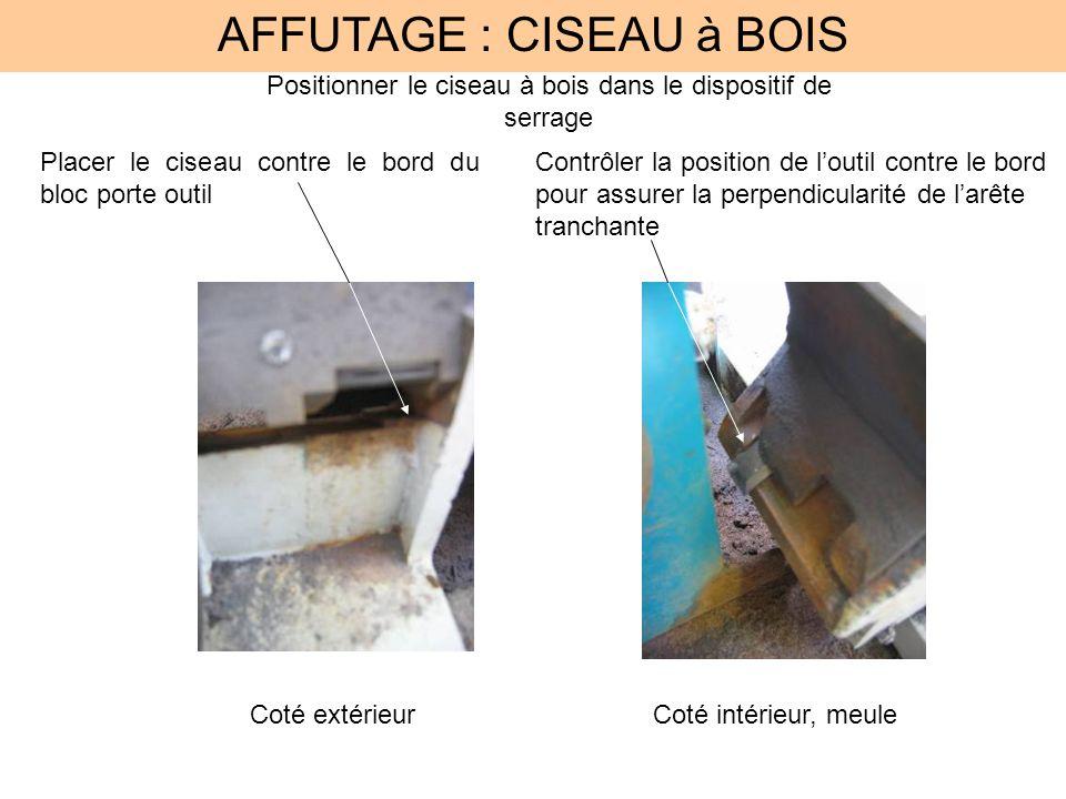 AFFUTAGE : CISEAU à BOIS Positionner le ciseau à bois dans le dispositif de serrage Placer le ciseau contre le bord du bloc porte outil Contrôler la p