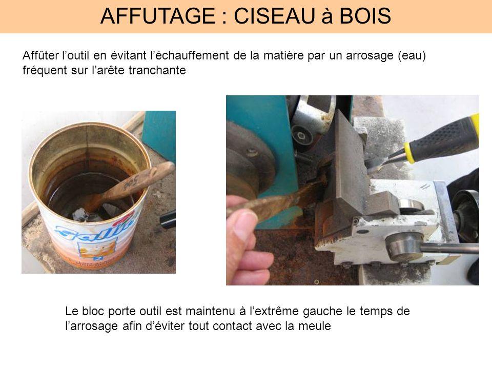 AFFUTAGE : CISEAU à BOIS Affûter loutil en évitant léchauffement de la matière par un arrosage (eau) fréquent sur larête tranchante Le bloc porte outi