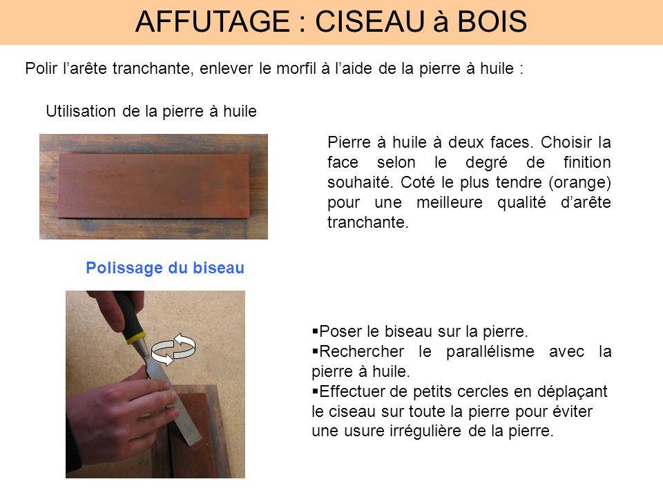 AFFUTAGE : CISEAU à BOIS Polir larête tranchante, enlever le morfil à laide de la pierre à huile : Utilisation de la pierre à huile Pierre à huile à d