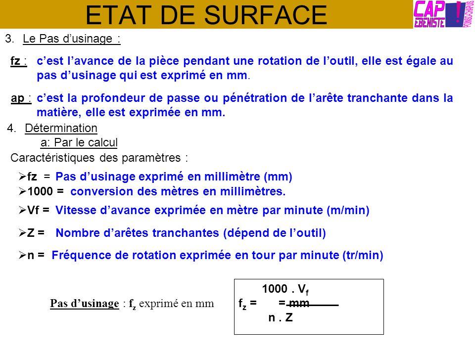 ETAT DE SURFACE fz : 3.Le Pas dusinage : cest lavance de la pièce pendant une rotation de loutil, elle est égale au pas dusinage qui est exprimé en mm