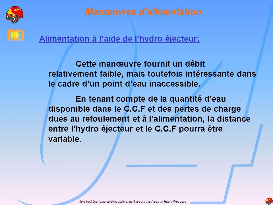 Service Départemental dIncendie et de Secours des Alpes de Haute Provence Manœuvres dalimentation Alimentation à laide de lhydro éjecteur: Cette manœu
