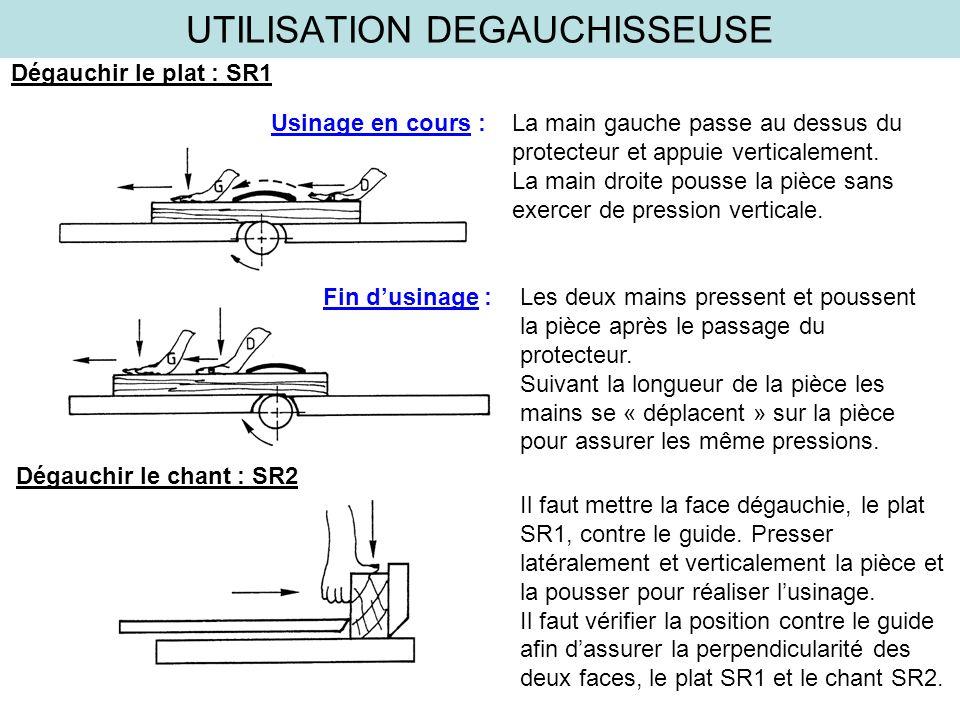 UTILISATION DEGAUCHISSEUSE Dégauchir le plat : SR1 Usinage en cours : La main gauche passe au dessus du protecteur et appuie verticalement. La main dr