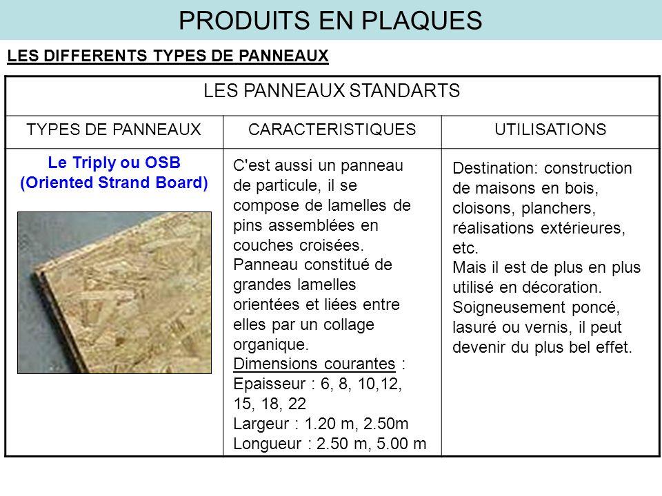 PRODUITS EN PLAQUES LES DIFFERENTS TYPES DE PANNEAUX LES PANNEAUX STANDARTS TYPES DE PANNEAUXCARACTERISTIQUESUTILISATIONS Le Triply ou OSB (Oriented S