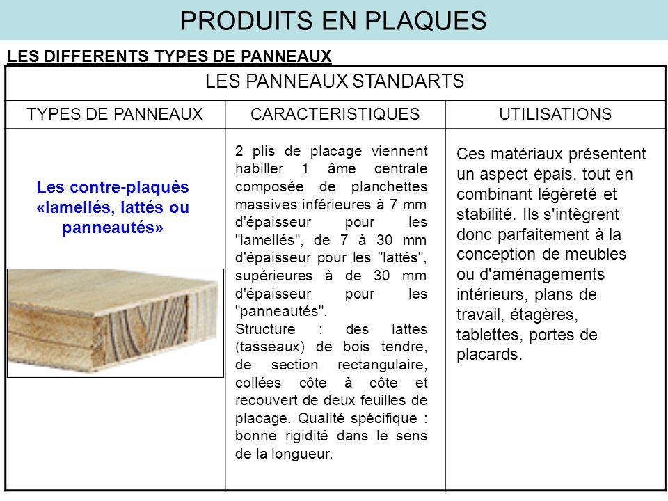 PRODUITS EN PLAQUES LES DIFFERENTS TYPES DE PANNEAUX LES PANNEAUX STANDARTS TYPES DE PANNEAUXCARACTERISTIQUESUTILISATIONS Les contre-plaqués «lamellés