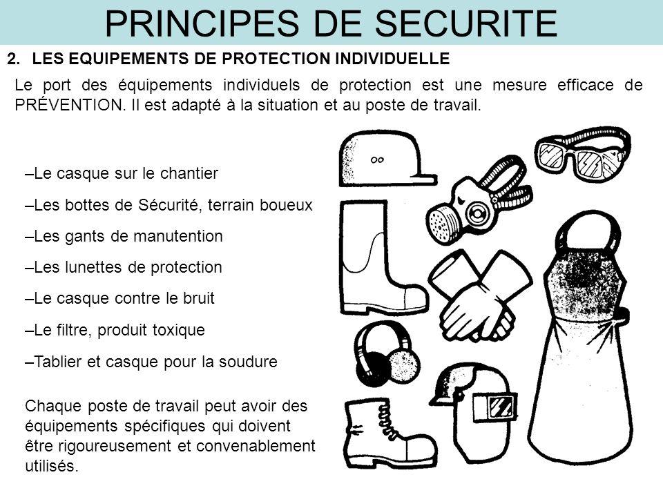 PRINCIPES DE SECURITE 2.LES EQUIPEMENTS DE PROTECTION INDIVIDUELLE Le port des équipements individuels de protection est une mesure efficace de PRÉVEN