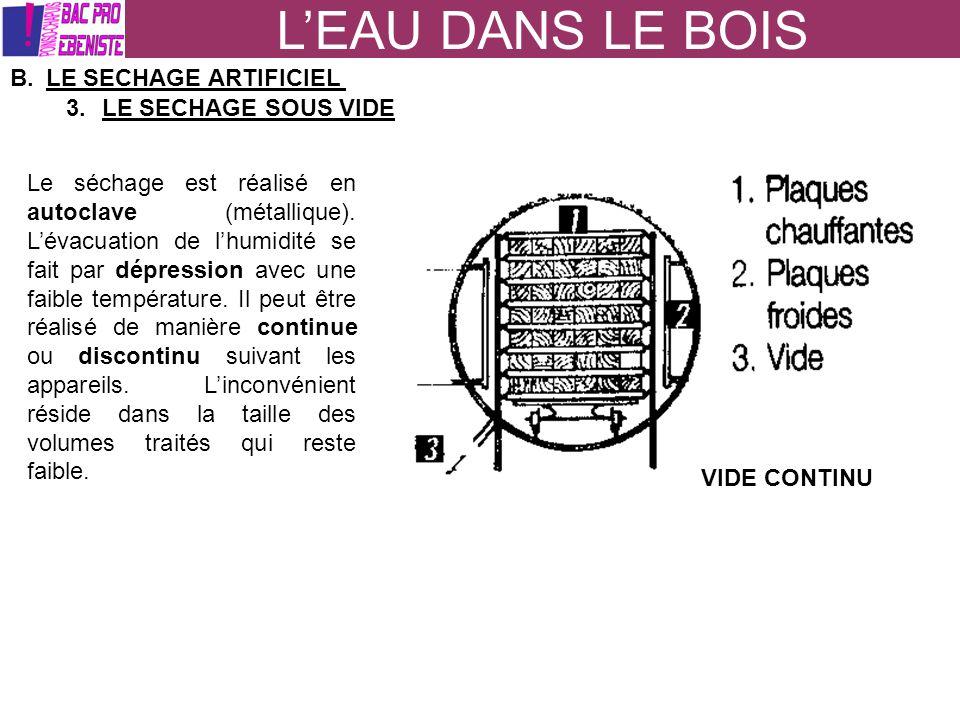 LEAU DANS LE BOIS B.LE SECHAGE ARTIFICIEL 3.LE SECHAGE SOUS VIDE Le séchage est réalisé en autoclave (métallique). Lévacuation de lhumidité se fait pa