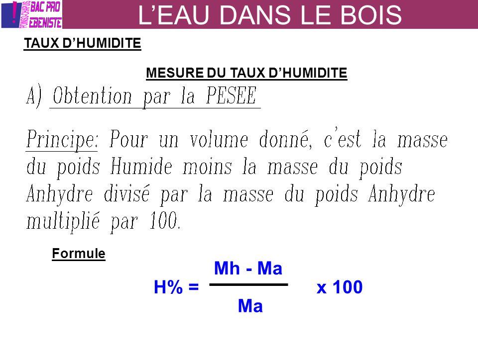 LEAU DANS LE BOIS TAUX DHUMIDITE MESURE DU TAUX DHUMIDITE Formule H% = Mh - Ma Ma x 100