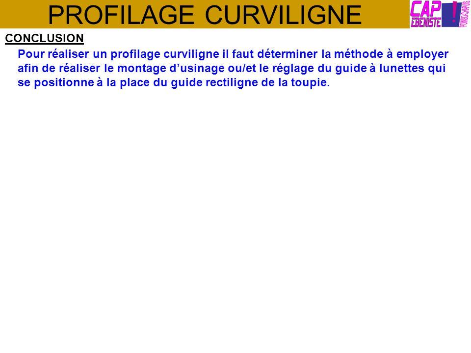 PROFILAGE CURVILIGNE CONCLUSION Pour réaliser un profilage curviligne il faut déterminer la méthode à employer afin de réaliser le montage dusinage ou