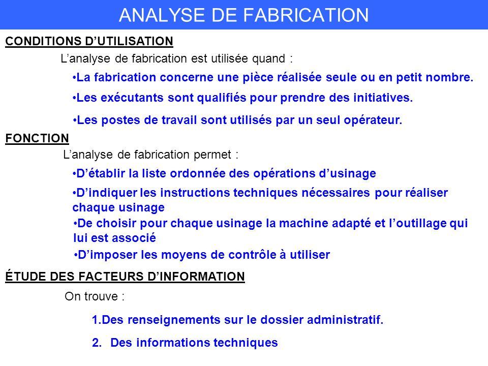 ANALYSE DE FABRICATION CONDITIONS DUTILISATION Lanalyse de fabrication est utilisée quand : La fabrication concerne une pièce réalisée seule ou en petit nombre.