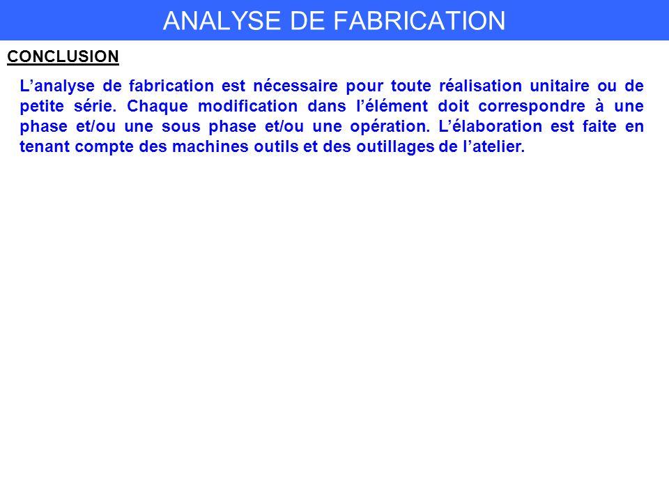 ANALYSE DE FABRICATION CONCLUSION Lanalyse de fabrication est nécessaire pour toute réalisation unitaire ou de petite série.