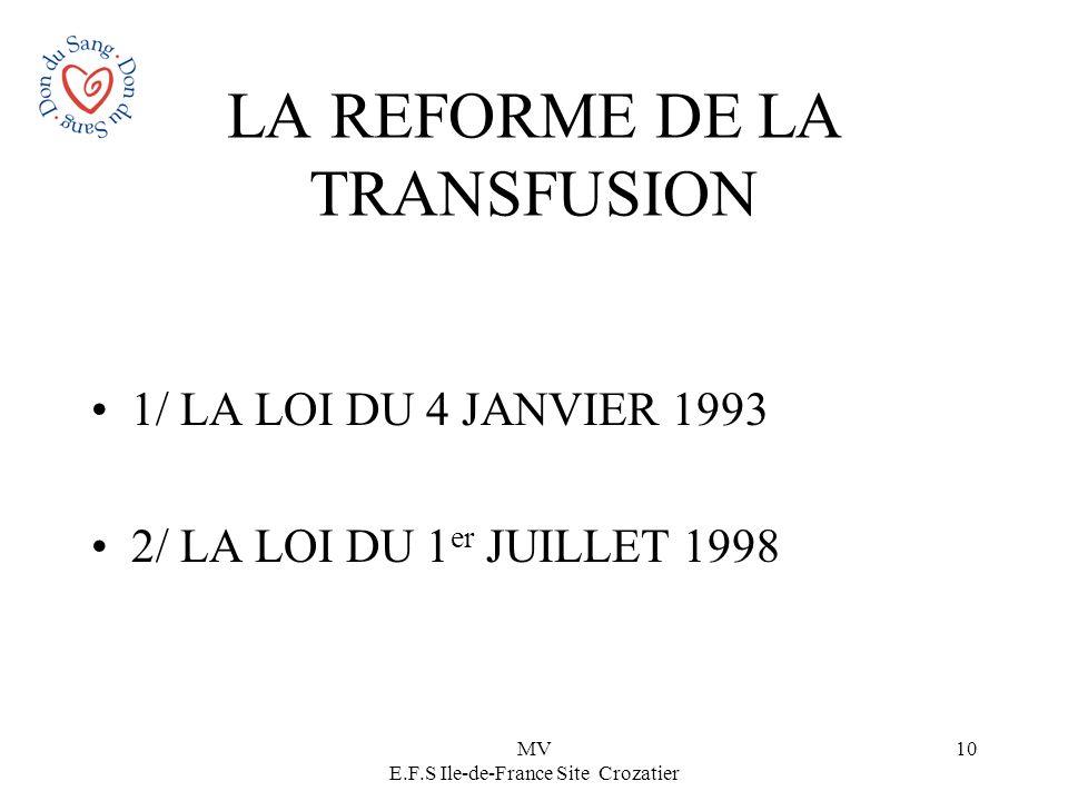 MV E.F.S Ile-de-France Site Crozatier 10 LA REFORME DE LA TRANSFUSION 1/ LA LOI DU 4 JANVIER 1993 2/ LA LOI DU 1 er JUILLET 1998