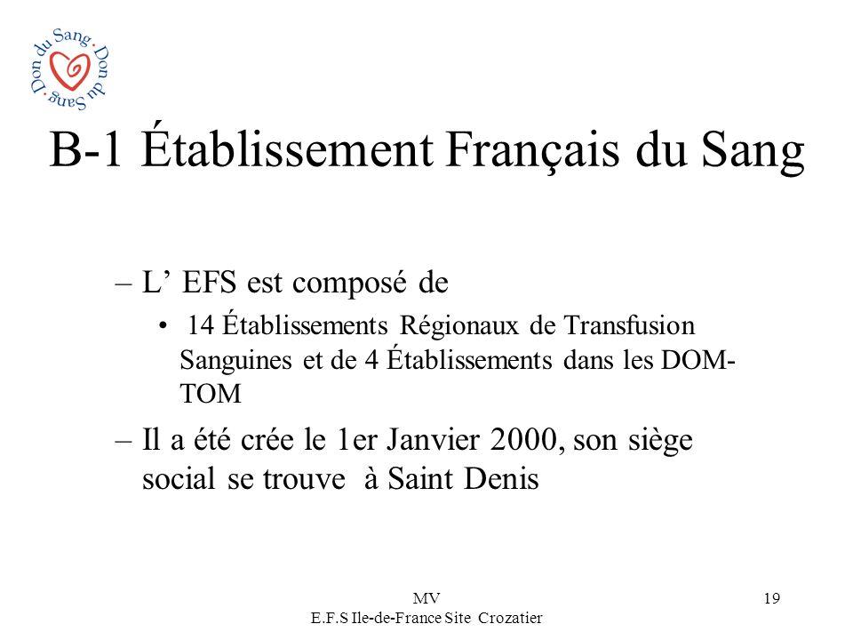 MV E.F.S Ile-de-France Site Crozatier 19 B-1 Établissement Français du Sang –L EFS est composé de 14 Établissements Régionaux de Transfusion Sanguines