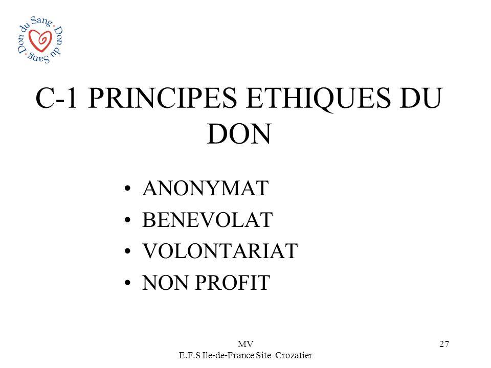 MV E.F.S Ile-de-France Site Crozatier 27 C-1 PRINCIPES ETHIQUES DU DON ANONYMAT BENEVOLAT VOLONTARIAT NON PROFIT