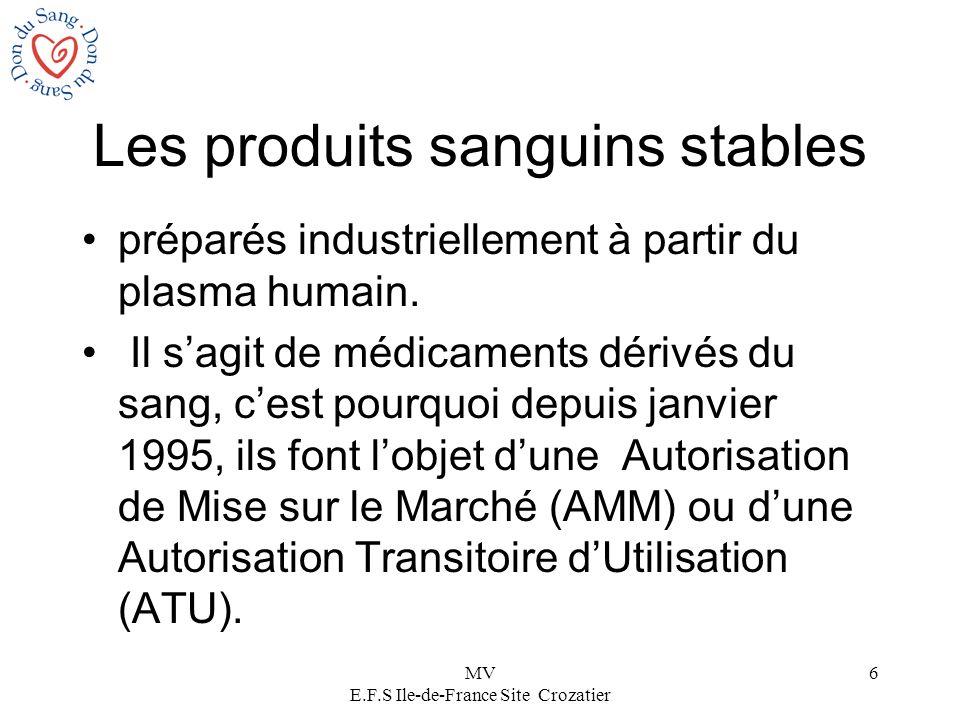 MV E.F.S Ile-de-France Site Crozatier 6 Les produits sanguins stables préparés industriellement à partir du plasma humain. Il sagit de médicaments dér