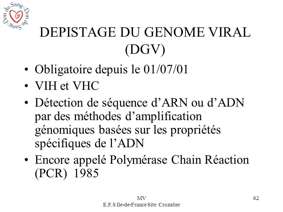 MV E.F.S Ile-de-France Site Crozatier 62 DEPISTAGE DU GENOME VIRAL (DGV) Obligatoire depuis le 01/07/01 VIH et VHC Détection de séquence dARN ou dADN