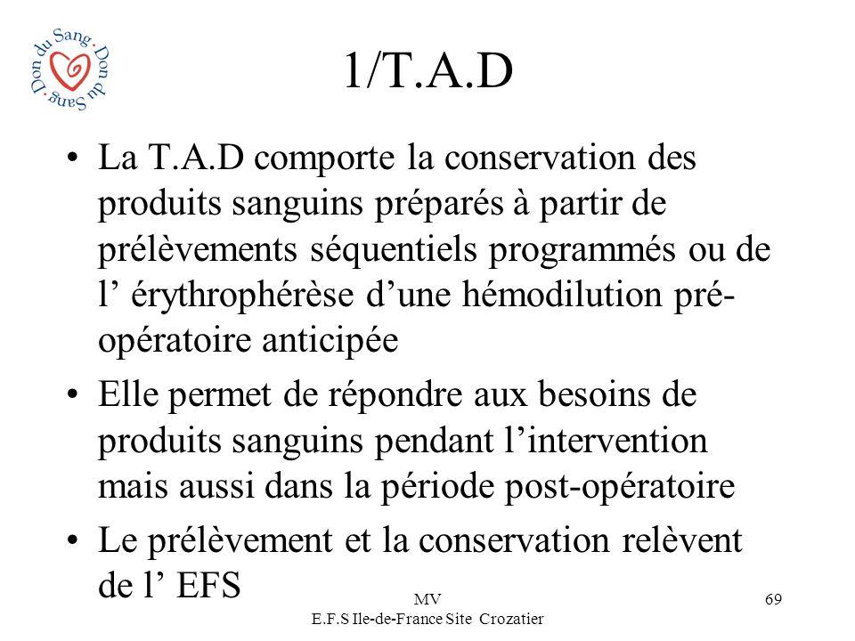 MV E.F.S Ile-de-France Site Crozatier 69 1/T.A.D La T.A.D comporte la conservation des produits sanguins préparés à partir de prélèvements séquentiels