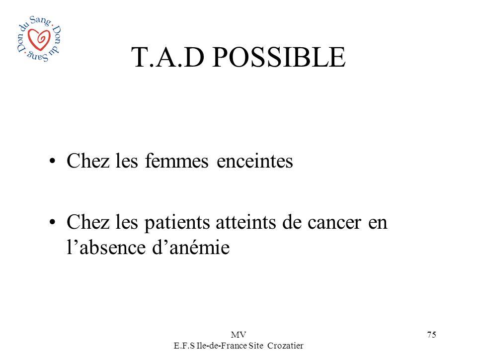 MV E.F.S Ile-de-France Site Crozatier 75 T.A.D POSSIBLE Chez les femmes enceintes Chez les patients atteints de cancer en labsence danémie