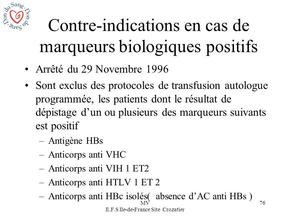 MV E.F.S Ile-de-France Site Crozatier 76 Contre-indications en cas de marqueurs biologiques positifs Arrêté du 29 Novembre 1996 Sont exclus des protoc