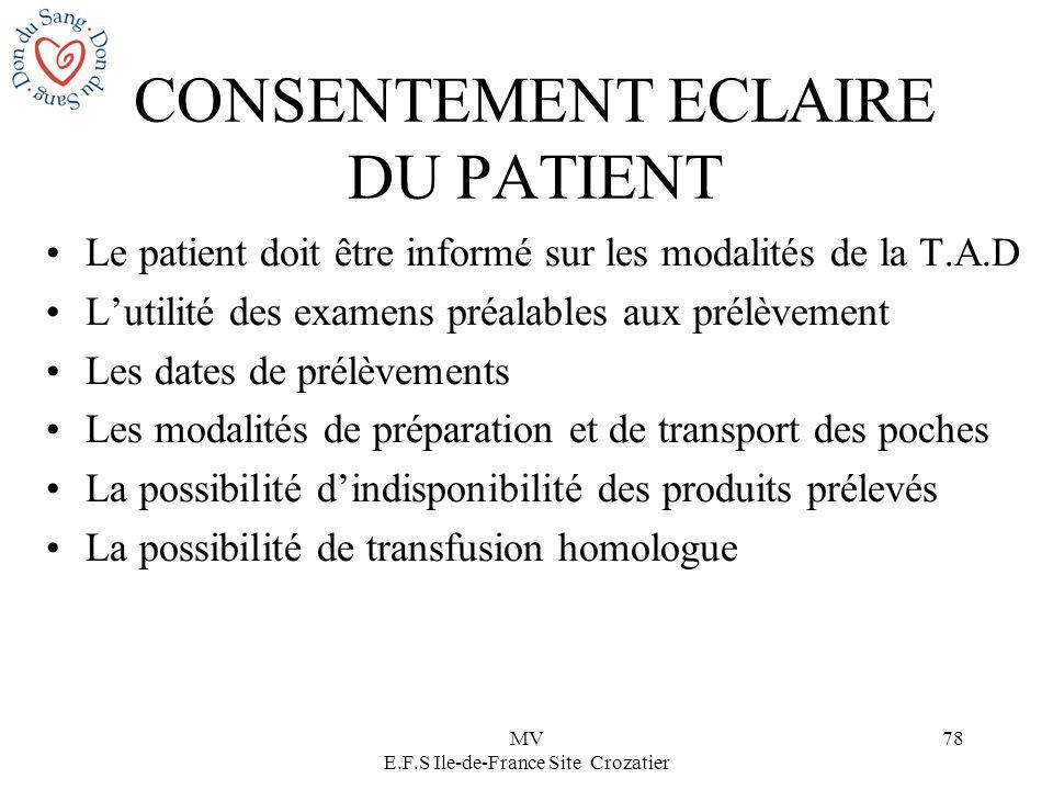 MV E.F.S Ile-de-France Site Crozatier 78 CONSENTEMENT ECLAIRE DU PATIENT Le patient doit être informé sur les modalités de la T.A.D Lutilité des exame