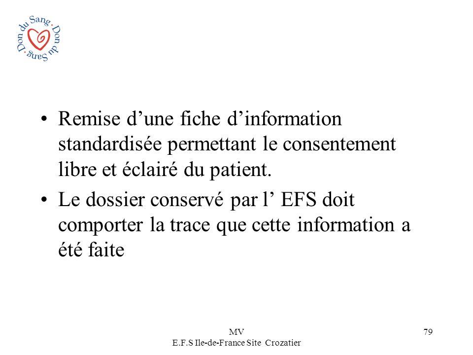 MV E.F.S Ile-de-France Site Crozatier 79 Remise dune fiche dinformation standardisée permettant le consentement libre et éclairé du patient. Le dossie