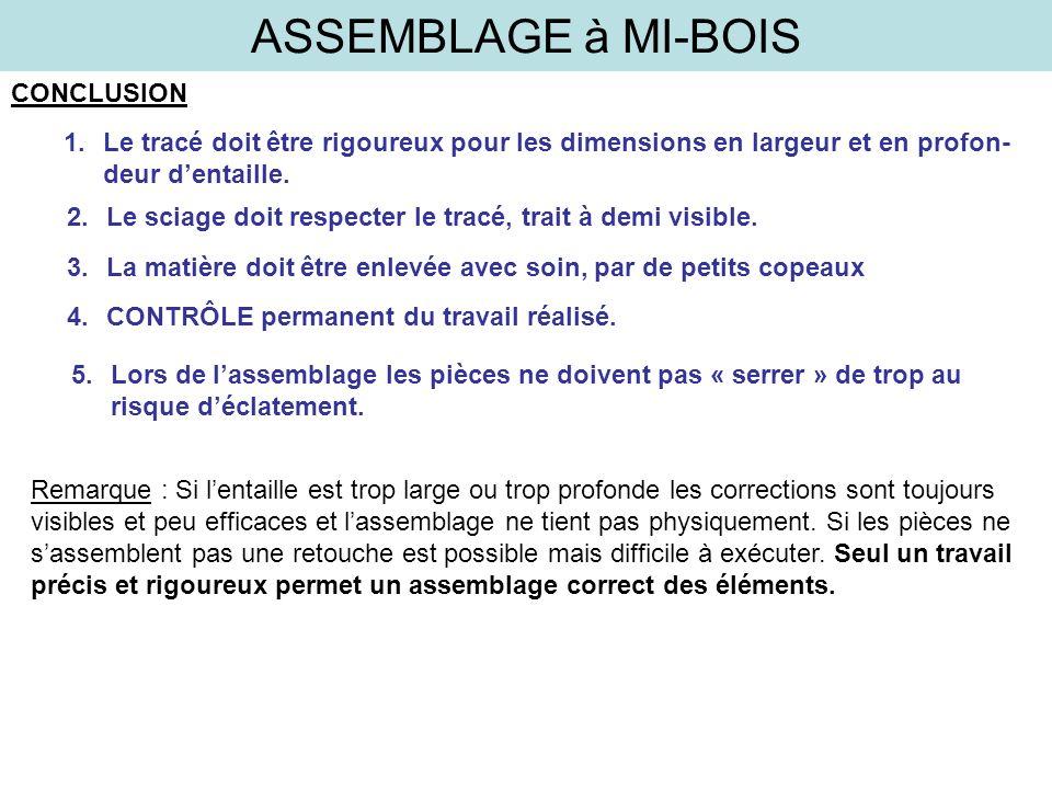 ASSEMBLAGE à MI-BOIS CONCLUSION 1.Le tracé doit être rigoureux pour les dimensions en largeur et en profon- deur dentaille. 2.Le sciage doit respecter