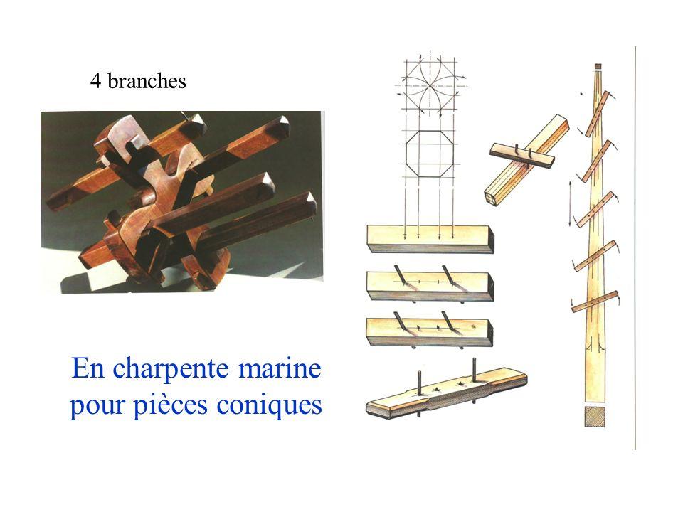 En charpente marine pour pièces coniques 4 branches