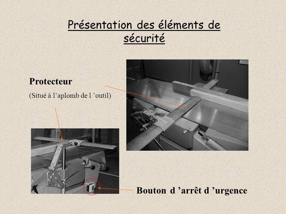 Présentation des éléments de sécurité Protecteur (Situé à laplomb de l outil) Bouton d arrêt d urgence