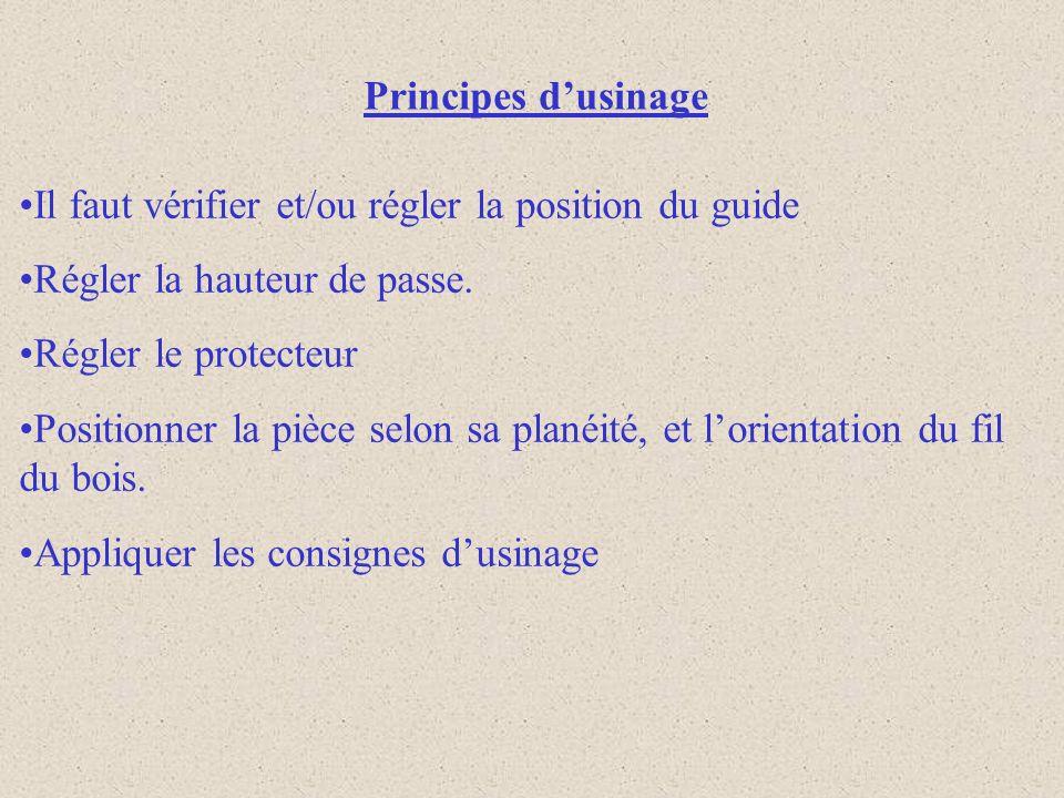 Principes dusinage Il faut vérifier et/ou régler la position du guide Régler la hauteur de passe.