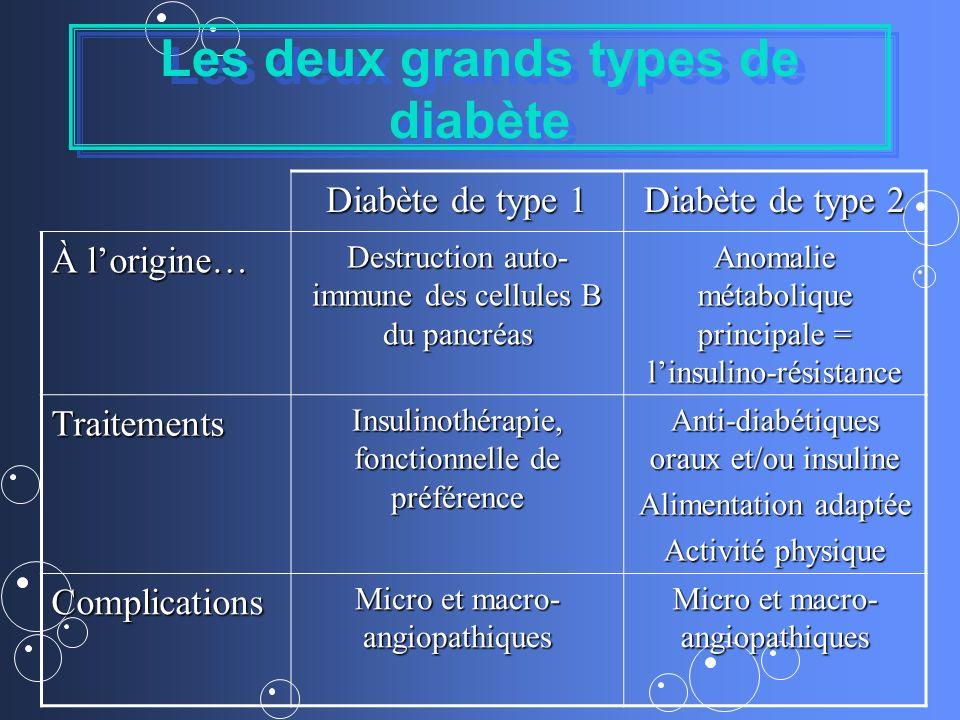 Les deux grands types de diabète Diabète de type 1 Diabète de type 2 À lorigine… Destruction auto- immune des cellules B du pancréas Anomalie métaboli