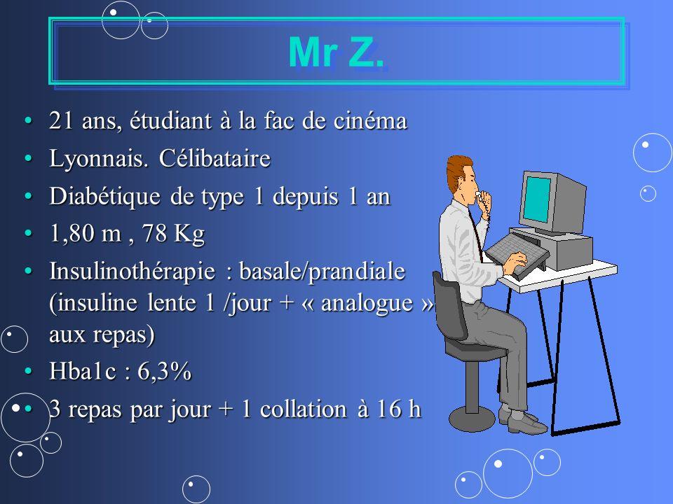 Mr Z. 21 ans, étudiant à la fac de cinéma21 ans, étudiant à la fac de cinéma Lyonnais. CélibataireLyonnais. Célibataire Diabétique de type 1 depuis 1