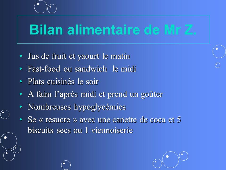 Bilan alimentaire de Mr Z. Jus de fruit et yaourt le matinJus de fruit et yaourt le matin Fast-food ou sandwich le midiFast-food ou sandwich le midi P