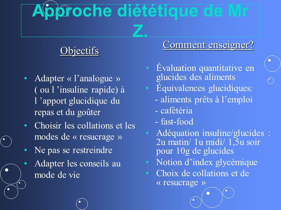 Approche diététique de Mr Z. Objectifs Adapter « lanalogue » ( ou l insuline rapide) à l apport glucidique du repas et du goûter Choisir les collation