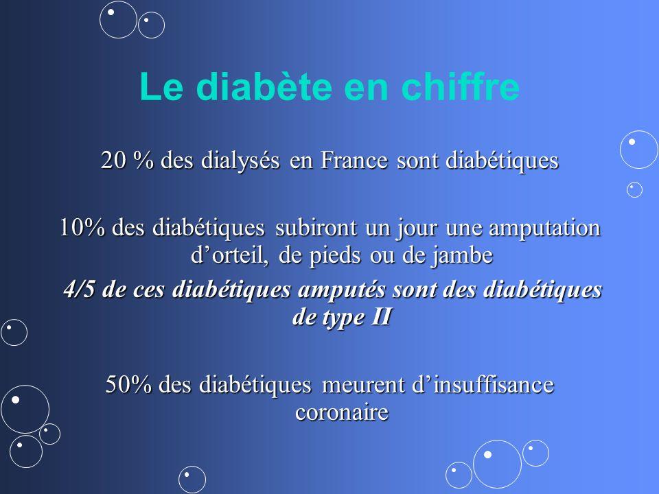 20 % des dialysés en France sont diabétiques 10% des diabétiques subiront un jour une amputation dorteil, de pieds ou de jambe 4/5 de ces diabétiques