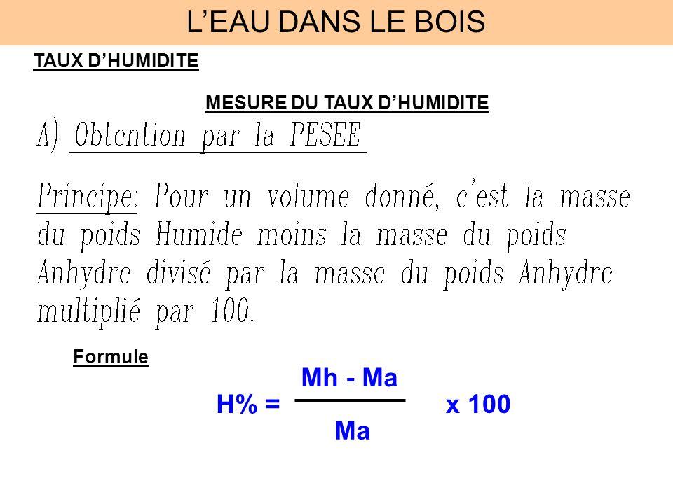 TAUX DHUMIDITE MESURE DU TAUX DHUMIDITE Formule H% = Mh - Ma Ma x 100 LEAU DANS LE BOIS